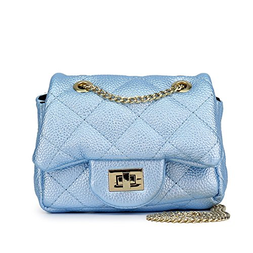 a40ae211b618 CMK Trendy Kids Quilted Pearl Embossed PU Leather Kids Purse for Little  Girls with Metal Chain (15cm(L) x 7.5cm(W) x 9cm(H)