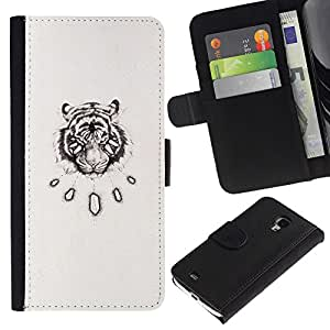 KingStore / Leather Etui en cuir / Samsung Galaxy S4 Mini i9190 / Dessin Sketch Art Noir