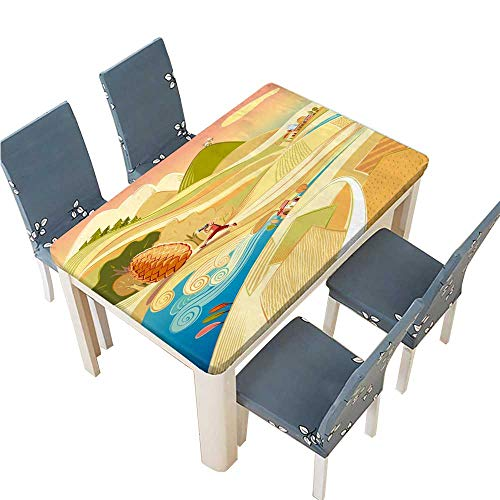 PINAFORE Polyester Tablecloth Fairy Tale Landscape with Cultivated Fields and boy Easy Care Spillproof W53 x L92.5 INCH (Elastic Edge) ()