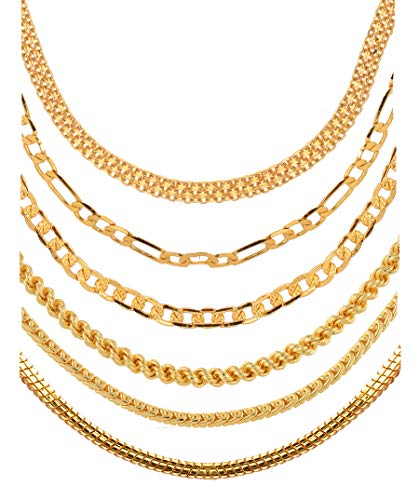 Aanyacentric Gold Plated Brass and Chain for Unisex Adult (Set of 6) – (Gold_20 gm)