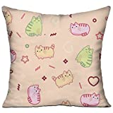 Animal Print Pattern Kawaii Style Cat 18x18 Inch Square Pillow Standard Form Insert - Machine Washable