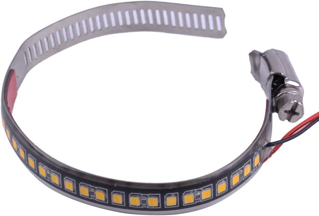 2pcs couleur ambre 24SMD LED clignotant indicateur de bande clignotant adapt/é pour 45-70mm longueur de c/âble de fourche de moto 40cm