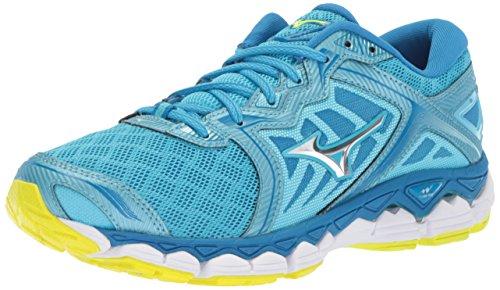 Mizuno Running Women's Wave Sky Running Shoes, Aquarius-Silver, 8 B US ()