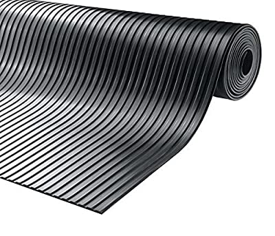 Heavy Duty Rubber Flooring Black Ribbed (D) by TR-tools