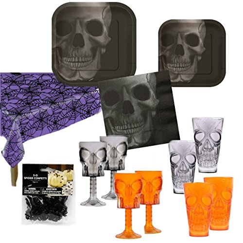 Halloween Party Supplies Decorations Bundle ~ Spider Web Tablecloth Spooky Scary Skeleton Plates Napkins Scary Skull Tumblers with Creepy Spiders