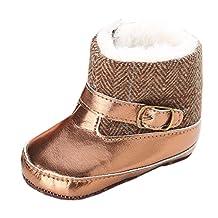 Baby Boys Girls Champine Gold Metallic Mid-Culf Fleece Patchwork Boots Crib Shoes
