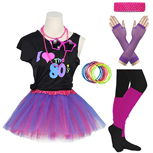 Girls I Love The 80's Disco T-Shirt for 1980s Theme Party Outfit (Purple, 14-16 Years) -