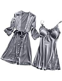 480749daec Lingerie Women Silk Lace Robe Dress Babydoll Nightdress Sleepwear Kimono Set
