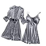 Cenglings Women Sexy Lingerie Silk Lace Robe Dress Babydoll Nightdress Sleepwear Kimono 1pc Dress+1pc Kimono Pajamas Set
