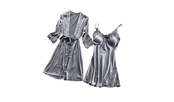 TIFIY Lencería Mujer Seda Vestido de Bata de Encaje Babydoll Camisón Ropa de Dormir Kimono Conjunto(Gris, M): Amazon.es: Ropa y accesorios