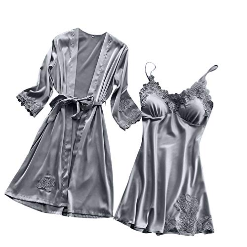 Hivot Women Sexy Sleepwear Silk Lace Lingerie Robe Teddy Nightdress Babydoll Temptation Underwear Kimono Set Grey