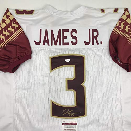 Autographed/Signed Derwin James Florida State FSU White College Football Jersey JSA COA
