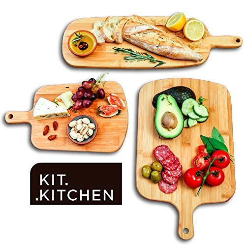 Natural Wood Chopping Wooden Boards Large Small Kitchen Home 100% Organic Set of 3 Pieces for Carving Serving Cheese, Bread, Meat, Vegetables, Fruits, Charcuterie ()