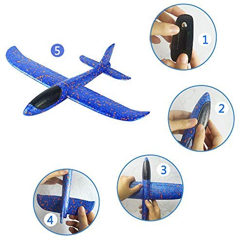 Foam Glider Airplane Toys Aircraft Hand Throwing Planes 13.5″ Flying Aeroplane Model Outdoor Sports Toys 3 Flight Mode Birthday Party Favor Gift for Kids 2 Pack (Red & Blue)