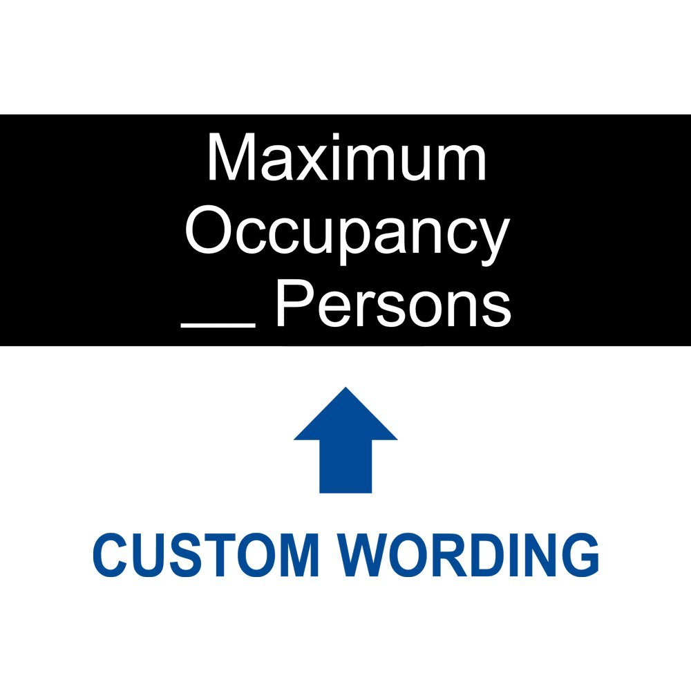 Maximum Occupancy_ Persons [Custom Number] Sign, 8x3 in. Engraved Plastic, White on Black by ComplianceSigns by ComplianceSigns