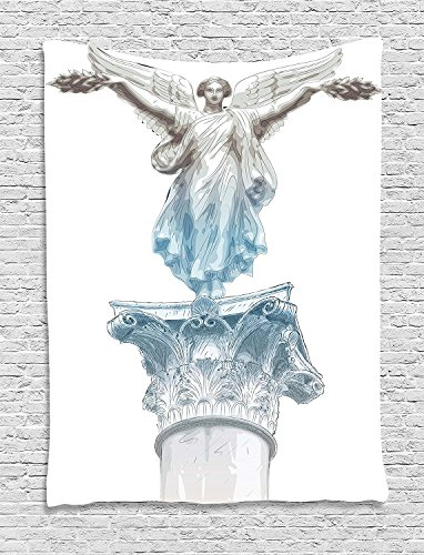 XHFITCLtd Toga Party Tapestry, Antique Muse Statue Athens Hellenistic Period Mythological Monument Art, Wall Hanging for Bedroom Living Room Dorm, 60 W X 80 L Inches, Light Blue Umber
