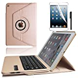 iPad 2/3/4 Keyboard Case, KVAGO Slim-Fit Protective Case 360 Degree Rotating Case Sleeve with Detachable Wireless Bluetooth Keyboard Keypad for Apple iPad 2/ iPad 3/ iPad 4 -Gold