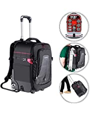 Neewer 2-in-1 Rolling Camera Backpack Trolley Case (Style I-Black/Red)