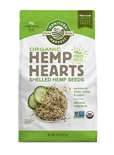 Heart Choice Plant - Manitoba Harvest Organic Hemp Hearts Raw Shelled Hemp Seeds, 5lb; with 10g protein& Omegas per Serving, Non-GMO, Gluten Free