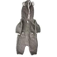 Carters Baby Girls Hooded Fleece Jumpsuit (3 Months, Gray/Pink Sherpa)