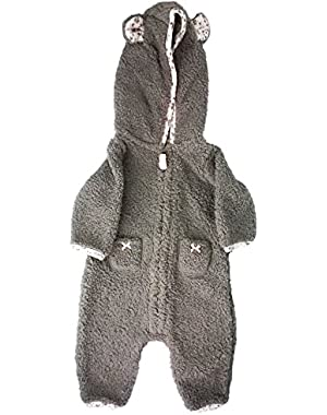 Carters Baby Girls Hooded Fleece Jumpsuit (9 Months, Gray/Pink Sherpa)