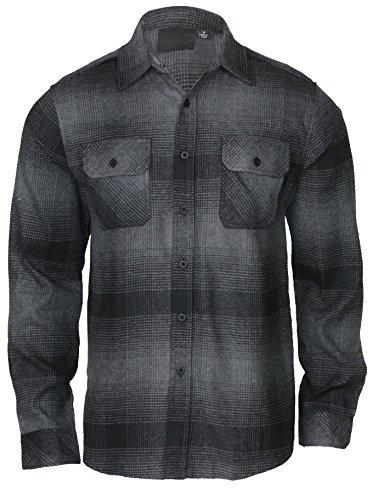 9 Crowns Men's Lightweight Plaid Flannel Shirt-No Hood Black