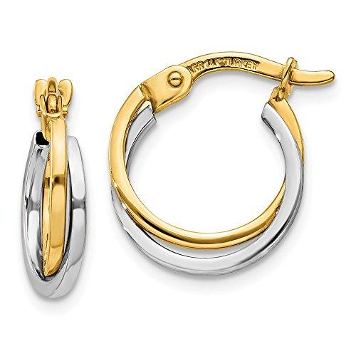 14k Two Tone Yellow Gold Hoop Earrings Ear Hoops Set Fine Jewelry Gifts For Women For Her ()
