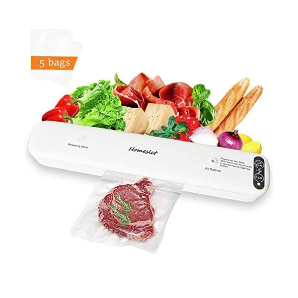 Homeslct Macchina Sottovuoto Professionale per Alimenti, Sigillatore Sottovuoto con 1 Tubo Accessorio e 5pz Sacchetti… 2