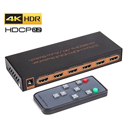 ROOFULL 5 In 1 Out HDMI 2.0 Switch 4K 60Hz HDR HDCP 2.2 Dolby Vision 1080P 3D, 5x1 5 Pors HDMI 2.0 Switcher with IR Remote for PS4 Pro, XBox One/360, Fire TV, Apple TV and More