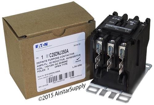 (Eaton / Control Automation C25DNJ350A CONTACTOR; DP; 3 POLE; 50A; 120VAC COIL)