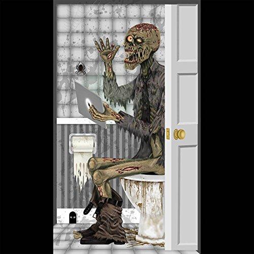 Walking Dead Costumes For Kids (Funny ZOMBIE TOILET BATHROOM DOOR COVER Wall Poster Walking Dead Prop Decoration)