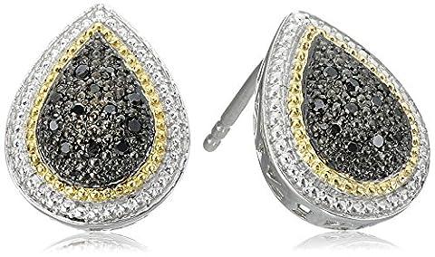 Sterling Silver Black Diamond Pear Shape Stud Earrings