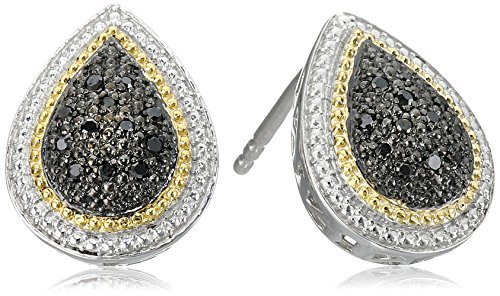 Sterling Silver Black Diamond Pear Shape Stud Earrings (Twist Earrings Pear Shape)