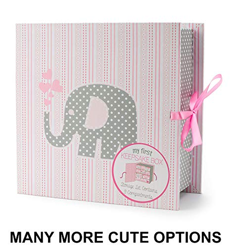 (Baby Milestone Keepsake Storage Box: Track Treasured Memories - Elle Elephant)
