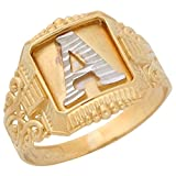 14k Two-Tone Gold Antique and Filigree Design Mens Fancy Initial Letter A Ring