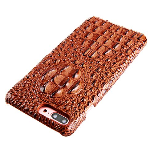 (iPhone 7 Plus/iPhone 8 Plus Leather Case, Reginn Slim Fit Phone Cover [Wireless Charging Compatible] [Crocodile Head Pattern] Genuine Leather Case for iPhone 7 Plus/iPhone 8 Plus (Brown))