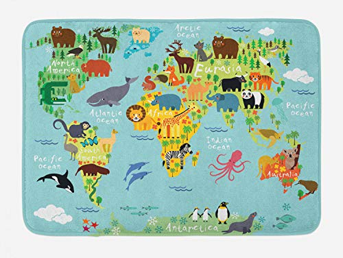 Ambesonne Wanderlust Bath Mat, Animal Map of The World for Children Kids Cartoon Mountains Forests, Plush Bathroom Decor Mat with Non Slip Backing, 29.5 X 17.5, Pale Blue