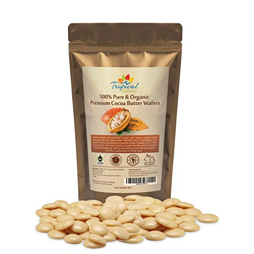 Raw Cocoa Butter Wafers (8 ounce) - 100% Natural Unrefined, Non-Deodorized, Organic Fair Trade Cacao Beans From Peru - Best for Food, Hair, Skin and DIY Such as chocolate bars by Tropical Holistic