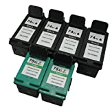 Remanufactured Ink Cartridge Replacements for HP 74XL and HP 75XL (4 Black 2 Color, 6 Pack)