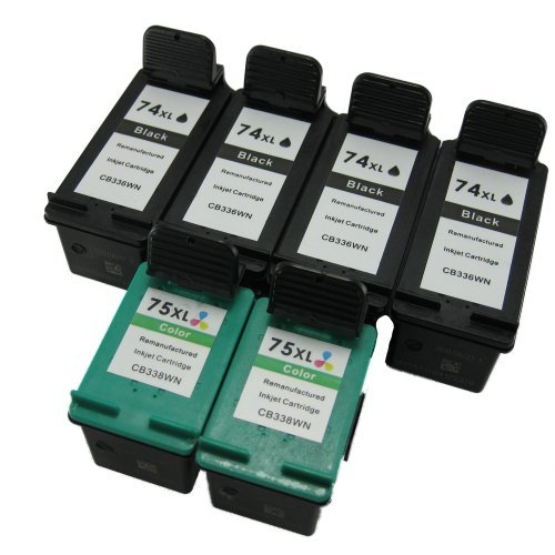 Remanufactured Ink Cartridge Replacements for HP 74XL and HP 75XL (4 Black 2 Color, 6 Pack) by Generic (Image #1)