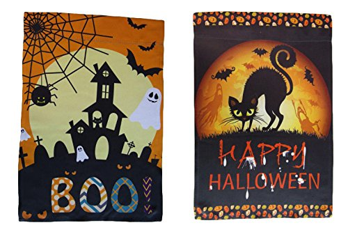 ALBATROS 12 inch x 18 inch Happy Halloween #19 Vertical Sleeve Flag for Garden for Home and Parades, Official Party, All Weather Indoors -