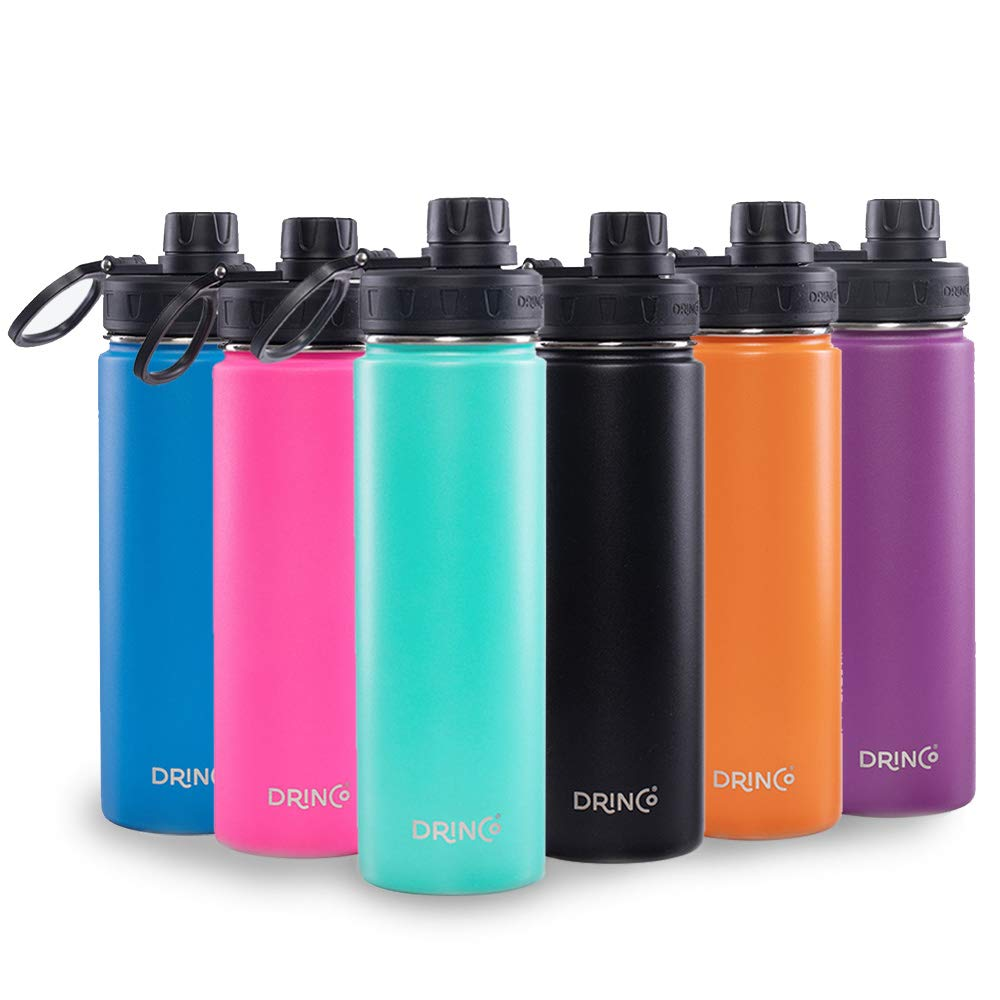 Drinco - Stainless Steel Water Bottle | Double Wall Vacuum Insulated | With Wide Mouth Spout Lid Leak Proof | Aqua | 18/8 Grade, 20, 32 oz