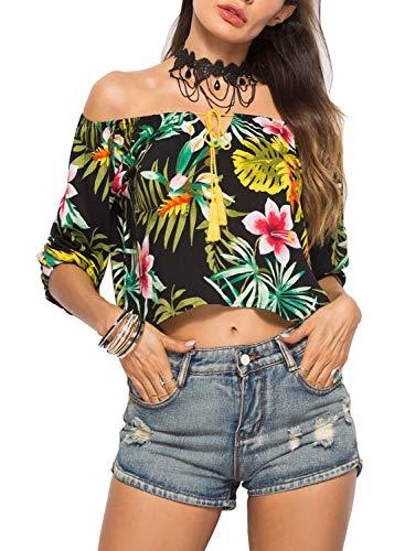 Doballa Women's Floral Print Tassel Tie Neck 3/4 Sleeve Off Shoulder Crop Top Blouse Shirt Top -