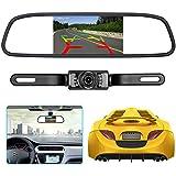 Backup camera and rearview mirror LCD monitor kit,Car License Plate Waterproof Night Vision Rear-view HD Car Reverse Rearview Camera + 4.3 inch LCD mirror Monitor Screen Display kit