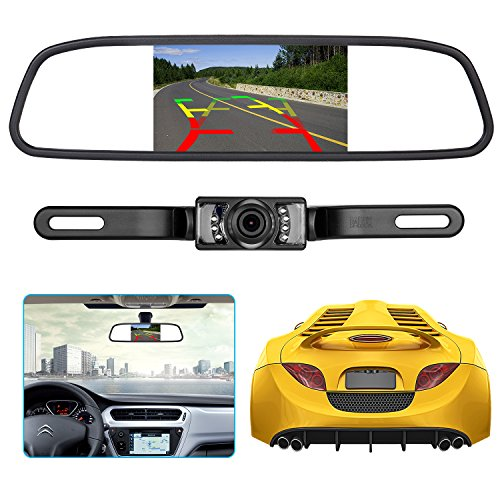 - Backup Camera and Rearview Mirror LCD Monitor kit,Car License Plate Waterproof Night Vision Rear-View HD Car Reverse Rearview Camera + 4.3