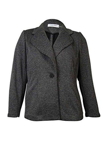 Button Herringbone Sport Coat (Calvin Klein Womens Petites One Button Herringbone Blazer Black-Ivory 4P)