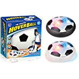 Amazingbuy - Kids Toys Hover Ball, Air Power Soccer Disk with LED Lights Foam Bumpers Size 4 Boys Girls Sport Children Training Game Football with Parents Indoor or Outdoor (White)