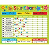 "Magnetic Reward / Star / Responsibility / Behavior Chart for up to 3 Children. Rigid board 16"" x 13"" (40 x 32cm) with hanging loop"