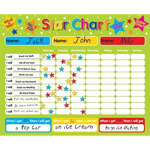 NEXX Magnetic Star Reward Chart – Fully Customisable Kids Behavior/Chore Chart – Ideal for Growing Kids, Toddlers, Teens – Accelerated Learning & Behavior Training (Star Reward Chart).