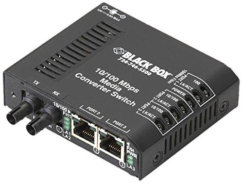 Black Box Corp Fast Ethernet Media Converter - 2 X Rj-45 1 X St Duplex - 10/100base-tx 100base-x - External Rack-mountable LBH100A-ST by Black Box